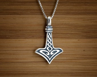 sterling silver 3d icelandic thor s hammer wolf cross