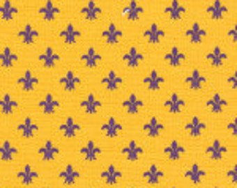 Mini Purple Fleur De Lis on Gold by Fabric Finders