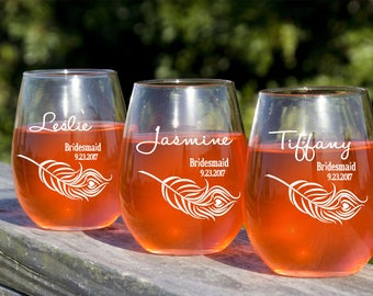 Stemless Wine Glasses,  Stemless Champagne Glasses, Champagne Toast, Bridal Party Toast, 8 Wine Glasses, Personalized Wine Glasses, Etched