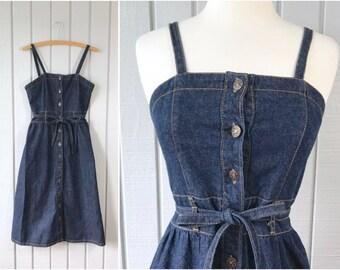 1960s 1970s Vintage Dark Denim Jumper Dress | Made in Hong Kong | Jean Jumper | Vintage Jumper | Vintage Clothing