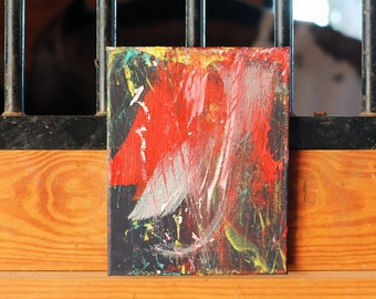 Abstract Painting - Red and Blue Original Acrylic - Summer Sun  - Boomerang the Painting Pony