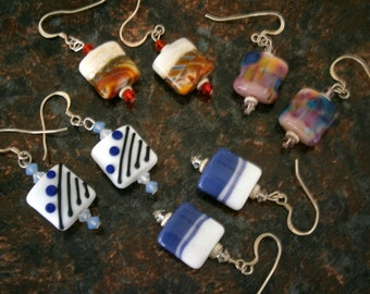 Glass Earrings 4 Color Choices, Lampworked Glass Earrings, Glass Jewelry, Willow Glass, OOAK