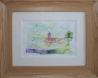 Normanton Church on Rutland Water, watercolour painting