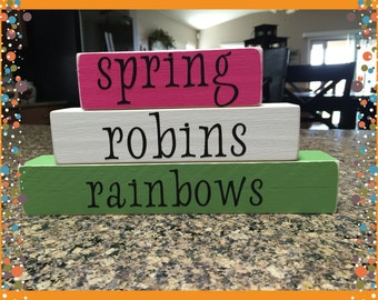 Spring Wood Block Set, Spring, Spring Decor, Home Decor, Gift, Mothers Day Gift, Gift for Mom