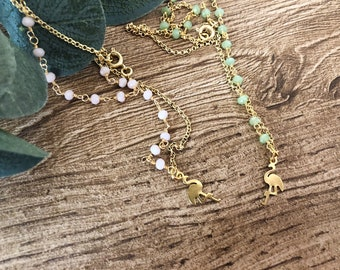 Necklace with rosary chain and flamingo brass pendant