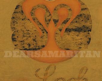 Loch Lomond, Swans, Mirrored Swans, Scotland, Scottish Art, Loch Lomond Art, Travel Poster, Vintage, Swan Art Print