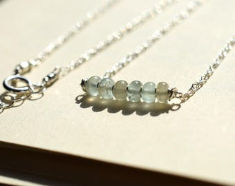 Moss Aquamarine Bar Necklace, Sea Green Necklace, Sterling Silver Wire Wrapped Necklace, Gemstone Bar Necklace, March Birthstone, Blue Gray