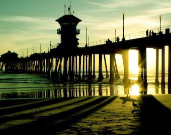 Surfer Under the Pier at Sunset - California Beach 8X12 Fine Art Photo, Sunset, California, Huntington Beach, Landscape Photo