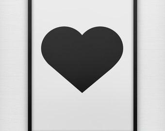 Simple black heart art print, modern black and white minimalist wall poster