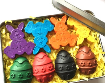 Easter Crayons Gift Tin | Easter Egg and Bunny Crayons | Easter Gift | Easter Bunny | Easter Egg Hunt | Gifts for children | Party favours