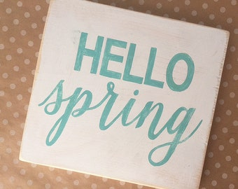 HELLO spring distressed wood sign 12x11""
