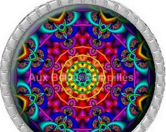 Round Cabochon 25 mm epoxy resin pendant - mandala (1116)
