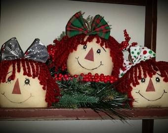 primitive raggedy head tucks, raggedy head Christmas ornaments, OFG, FAAP, Christmas raggedy ann, tree ornaments,