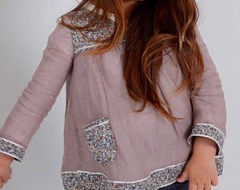 Girls top in liberty of London fabric and cotton. Size 2-10years
