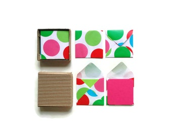 Mini Stationery Set - Green Red Blue Polka Dots Envelopes - Cute Blank Note Cards, Greetings, Gifts Under 15, Thank You, Gift Tags, Colorful