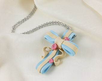 Cross Ribbon Necklace // Polymer Clay Cross Charm // Long Cross Necklace for Women // Christian Gift