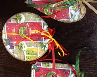 Set of 3 decorative ornaments,Wooden Christmas Ornaments. Handmade Christmas tree ornaments. Christmas tree ornaments. Xmas decor