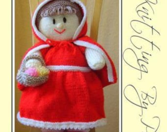 Red Riding Hood Knitting Pattern, Red Riding Hood Doll Knit Pattern, Doll Knitting Pattern, Fairy Tale Knit, Soft Toy Knitting Pattern