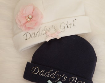 Infant Baby Girl or Baby Boy Beanie Hat Daddy's Girl or Daddy's Boy
