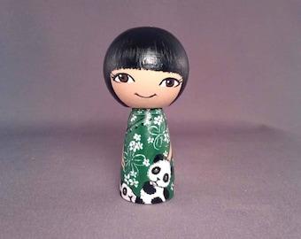 Little Asian girl with pandas Wooden Handpainted Kokeshi Doll
