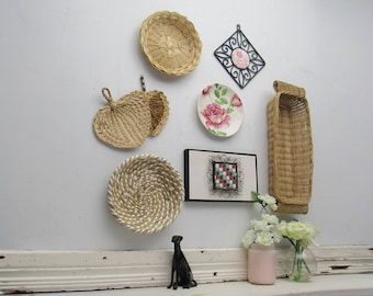 Straw wall art - Pink Roses - set of 8 pieces - with metal acccent pieces -bohemian tribal style art - wicker basket wall art- rattan