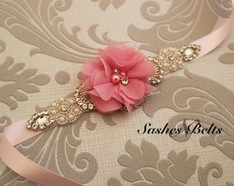 Pink Flower Girl Belt, Pink  Flower Sash Belt, Wedding Belt, Pink Belt Sash, bridesmaid belt,  crystal rhinestone belt, dress belt