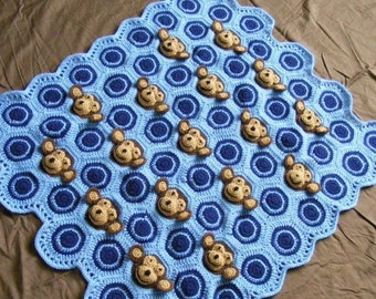 Crochet Baby Blanket PDF PATTERN Download - Baby Boy Feel and Learn Blanket, Stroller Blanket - Light Blue, Navy Blue Monkey, Circle Pattern