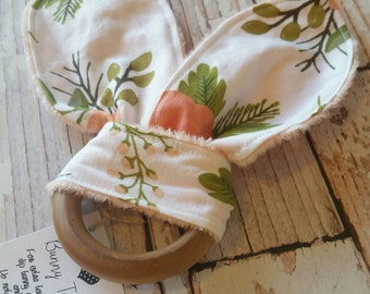 Teething Bunny - Baby Teething Toy - Floral Baby Toy - Wood Teething Ring - Baby Shower Gift - Baby Stocking Stuffer - Bunny Ear Toy