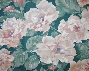 Vintage Large Floral Fabric, 1986, Upholstery, Draperies, Curtains, Pillows