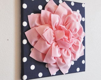 """Wall Art - Wall Decor - Wall Hanging - Light Pink Dahlia on Navy with White Polka Dots 12 x12"""" Wal Canvasl- 3D Wall Decoration Home Decor"""