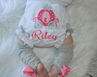 Personalized Princess Baby Bloomers, Baby Girl Princess Carriage Monogrammed Bloomer, Girls Diaper Cover