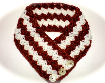 Red White Holiday Crocheted Scarfette Cowl Neckwarmer with Pearl Shell Buttons