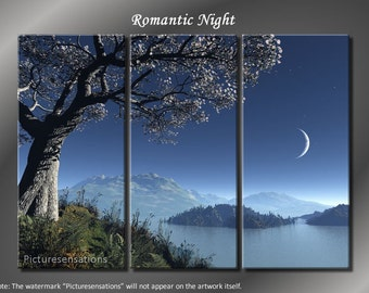 Framed Huge 3 Panel Serenity Lake Romantic Night Giclee Canvas Print - Ready to Hang