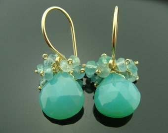 Chrysoprase and Apatite Cluster 14K Gold Filled or Sterling Silver Earrings