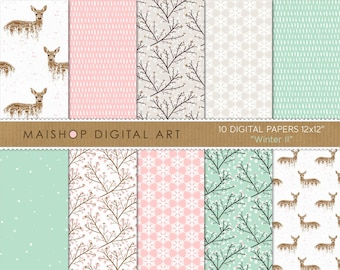 Pink, Green and Beige Digital Paper 'Winter II' Deers, Blossoms, Snowflakes Patterns for Scrapbook, Decoupage, Cards, Crafts, Invites...