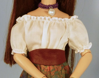 Doll Peasant Blouse,Top, Cummerbund, Sewing pattern, Ellowyne, 16 in fashion dolls, Tonner, Antoinette, Tyler, Alex Fairchild, Prudence