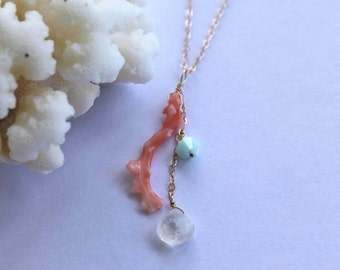 Natural Light Pink Italian Branch Coral, Rainbow Moonstone Adorned on 14kt Gold Filled Chain