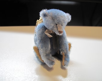 "Artist Lori Wright -Hand sewn miniature Teddy Bear Purse -Mohair Bear OOAK - Only 3"" tall!"