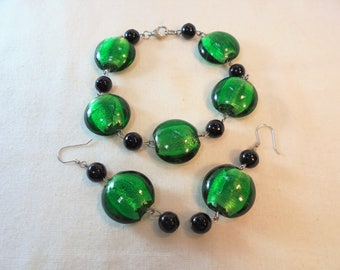 Vintage Sterling Silver Green Glass Foil Lampwork Bracelet / Earrings 925 Set / Lot Onyx Chunky Large Statement Runway