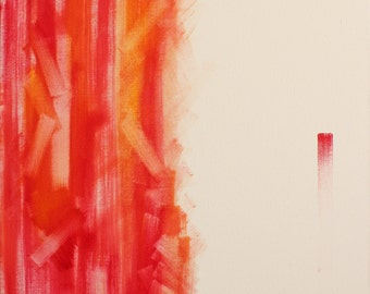 Bamboo Sunset, Abstract Painting, OOAK, Pink, Orange,