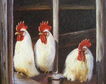 Chickens Art Print, roosters art, chicken paintings, rooster paintings, kitchen art, white chickens wall decor, Vickie Wade Art