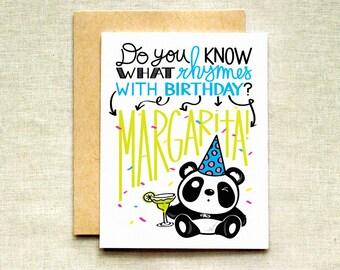 Panda birthday card etsy panda birthday card margarita birthday card best friend birthday card funny birthday card bookmarktalkfo Image collections