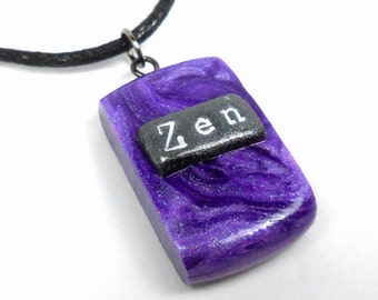 Zen Necklace, Purple Zen Jewelry, Inspirational Jewelry, Zen Necklace Pendant, Polymer Clay Jewelry, Yoga Jewelry, Spiritual Jewelry