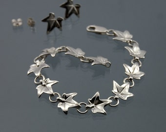 Ivy leaf bracelet, Elvish bracelet made in 925 sterling silver