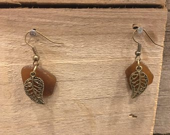 Earthy Leaf Sea Glass Earrings
