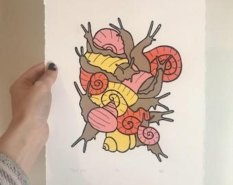 snail pile screen print