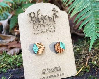 Wooden Earrings - Striped Cube Stud