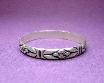 Sterling Silver Floral Print Stacking Ring