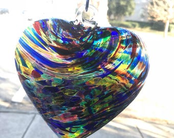 Hand Blown Glass Heart Friendship Gazing Sun Catcher Ornament