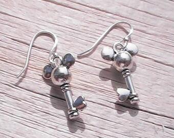 Mickey Mouse Magic Key charm earrings. disney earrings. magic kingdom earrings. mickey mouse earrings.